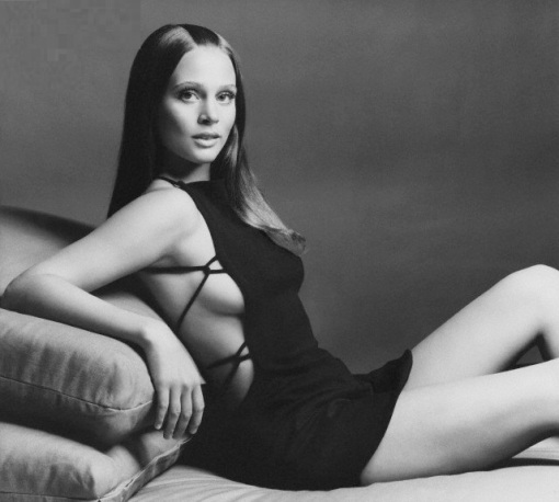 Leigh Taylor-Young Reclining in Minidress